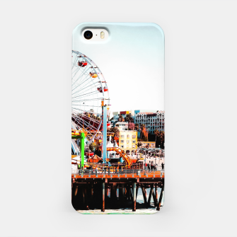 Thumbnail image of ferris wheel with beach view at Santa Monica pier California USA  iPhone Case, Live Heroes