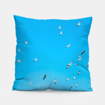 Thumbnail image of flying birds over the blue sky Pillow, Live Heroes