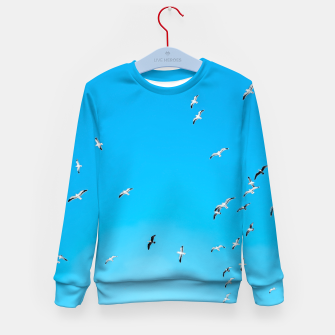 Thumbnail image of flying birds over the blue sky Kid's sweater, Live Heroes