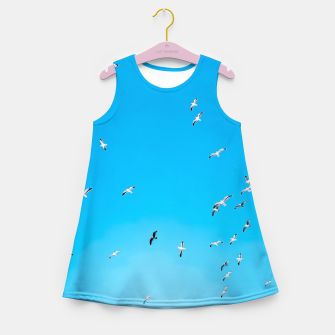 Thumbnail image of flying birds over the blue sky Girl's summer dress, Live Heroes