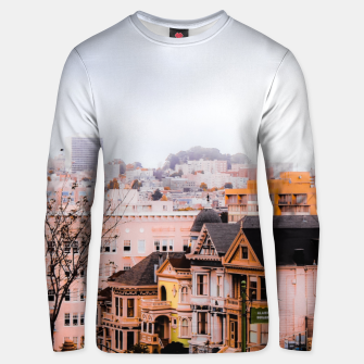 Thumbnail image of before sunset city view at Alamo Square, San Francisco, California, USA Unisex sweater, Live Heroes