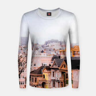 Thumbnail image of before sunset city view at Alamo Square, San Francisco, California, USA Women sweater, Live Heroes