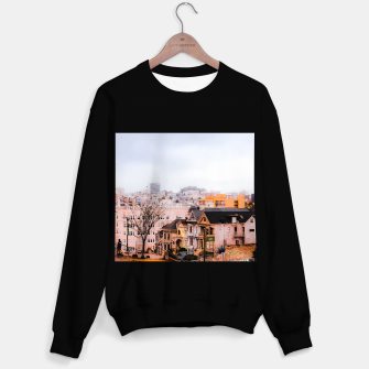 Thumbnail image of before sunset city view at Alamo Square, San Francisco, California, USA Sweater regular, Live Heroes