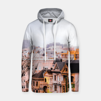 Thumbnail image of before sunset city view at Alamo Square, San Francisco, California, USA Hoodie, Live Heroes