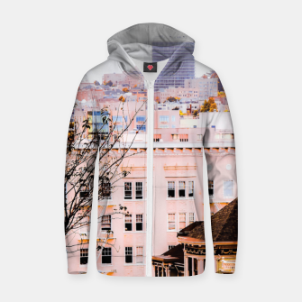 Thumbnail image of City view at Alamo Square, San Francisco, California, USA Zip up hoodie, Live Heroes