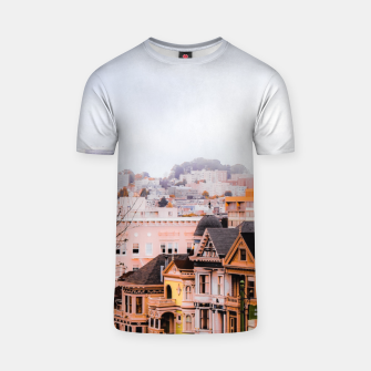 Thumbnail image of before sunset city view at Alamo Square, San Francisco, California, USA T-shirt, Live Heroes