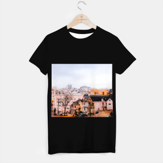 Thumbnail image of before sunset city view at Alamo Square, San Francisco, California, USA T-shirt regular, Live Heroes