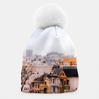 Thumbnail image of before sunset city view at Alamo Square, San Francisco, California, USA Beanie, Live Heroes