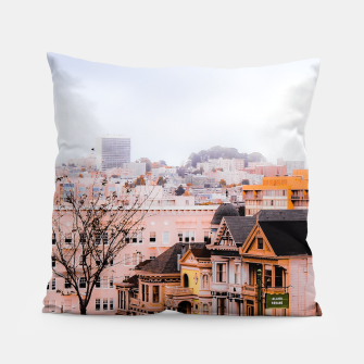 Thumbnail image of before sunset city view at Alamo Square, San Francisco, California, USA Pillow, Live Heroes