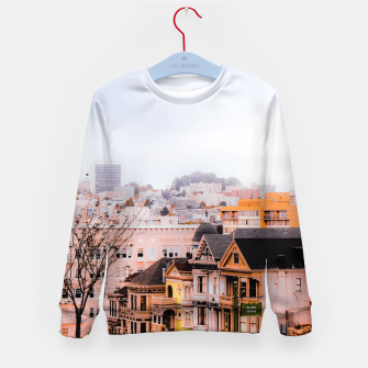 Thumbnail image of before sunset city view at Alamo Square, San Francisco, California, USA Kid's sweater, Live Heroes