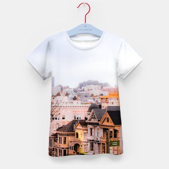 Thumbnail image of before sunset city view at Alamo Square, San Francisco, California, USA Kid's t-shirt, Live Heroes