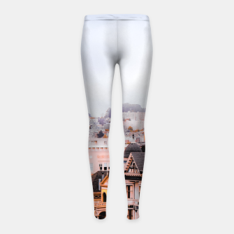 Thumbnail image of before sunset city view at Alamo Square, San Francisco, California, USA Girl's leggings, Live Heroes