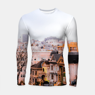 Thumbnail image of before sunset city view at Alamo Square, San Francisco, California, USA Longsleeve rashguard , Live Heroes