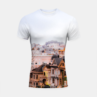 Thumbnail image of before sunset city view at Alamo Square, San Francisco, California, USA Shortsleeve rashguard, Live Heroes