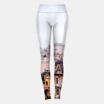 Thumbnail image of before sunset city view at Alamo Square, San Francisco, California, USA Leggings, Live Heroes