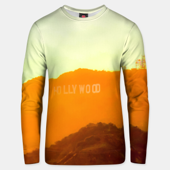 Thumbnail image of sunset sky in summer at Hollywood Sign, Los Angeles, California, USA Unisex sweater, Live Heroes