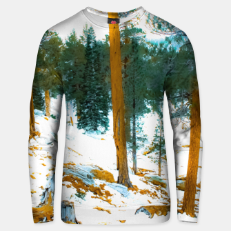 Miniature de image de green pine tree in winter with snow at Palm Springs Aerial Tramway, California, USA Unisex sweater, Live Heroes