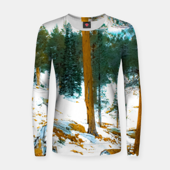 Miniature de image de green pine tree in winter with snow at Palm Springs Aerial Tramway, California, USA Women sweater, Live Heroes