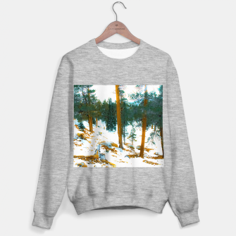 Miniature de image de green pine tree in winter with snow at Palm Springs Aerial Tramway, California, USA Sweater regular, Live Heroes