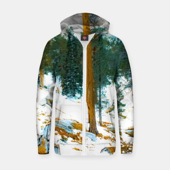 Miniature de image de green pine tree in winter with snow at Palm Springs Aerial Tramway, California, USA Zip up hoodie, Live Heroes