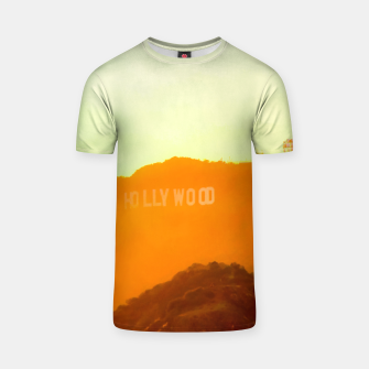 Thumbnail image of sunset sky in summer at Hollywood Sign, Los Angeles, California, USA T-shirt, Live Heroes