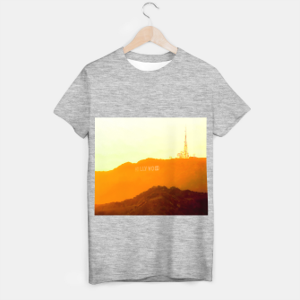 Thumbnail image of sunset sky in summer at Hollywood Sign, Los Angeles, California, USA T-shirt regular, Live Heroes