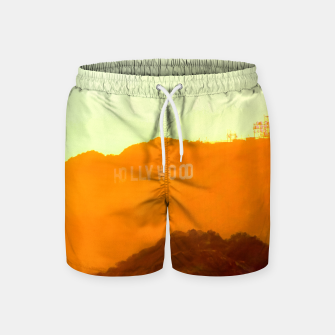 Thumbnail image of sunset sky in summer at Hollywood Sign, Los Angeles, California, USA Swim Shorts, Live Heroes