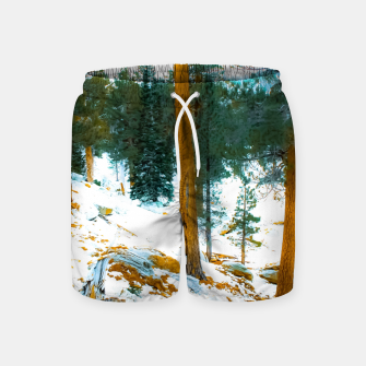 Miniature de image de green pine tree in winter with snow at Palm Springs Aerial Tramway, California, USA Swim Shorts, Live Heroes