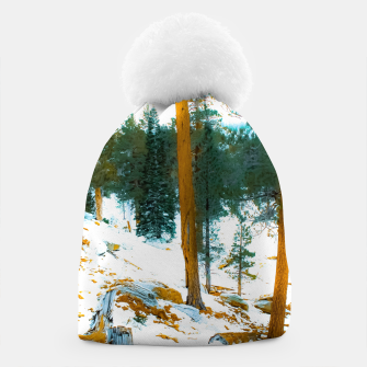 Miniature de image de green pine tree in winter with snow at Palm Springs Aerial Tramway, California, USA Beanie, Live Heroes