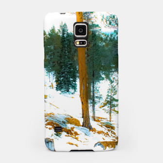 Miniature de image de green pine tree in winter with snow at Palm Springs Aerial Tramway, California, USA Samsung Case, Live Heroes