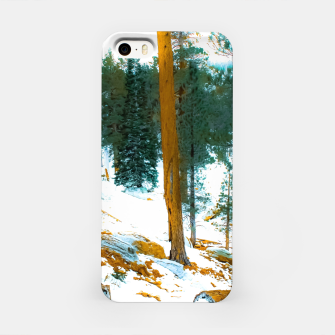 Miniature de image de green pine tree in winter with snow at Palm Springs Aerial Tramway, California, USA iPhone Case, Live Heroes