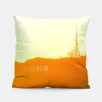 Thumbnail image of sunset sky in summer at Hollywood Sign, Los Angeles, California, USA Pillow, Live Heroes