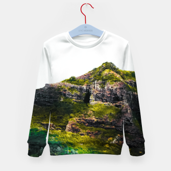 Miniatur green tropical mountains at Kauai, Hawaii, USA Kid's sweater, Live Heroes