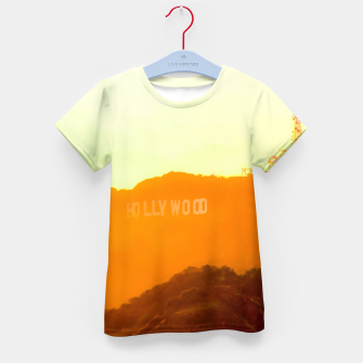 Thumbnail image of sunset sky in summer at Hollywood Sign, Los Angeles, California, USA Kid's t-shirt, Live Heroes