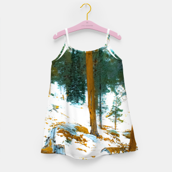 Miniature de image de green pine tree in winter with snow at Palm Springs Aerial Tramway, California, USA Girl's dress, Live Heroes