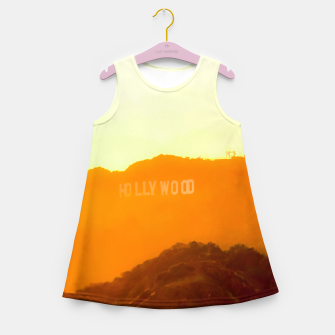 Thumbnail image of sunset sky in summer at Hollywood Sign, Los Angeles, California, USA Girl's summer dress, Live Heroes