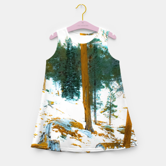 Miniature de image de green pine tree in winter with snow at Palm Springs Aerial Tramway, California, USA Girl's summer dress, Live Heroes