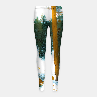 Miniature de image de green pine tree in winter with snow at Palm Springs Aerial Tramway, California, USA Girl's leggings, Live Heroes