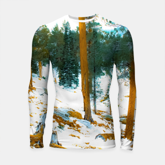 Miniature de image de green pine tree in winter with snow at Palm Springs Aerial Tramway, California, USA Longsleeve rashguard , Live Heroes