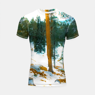 Miniature de image de green pine tree in winter with snow at Palm Springs Aerial Tramway, California, USA Shortsleeve rashguard, Live Heroes