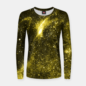 Miniaturka Illuminating yellow abstract galaxy Women sweater, Live Heroes