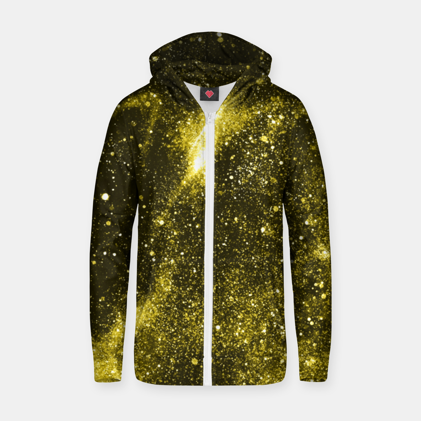 Image of Illuminating yellow abstract galaxy Zip up hoodie - Live Heroes