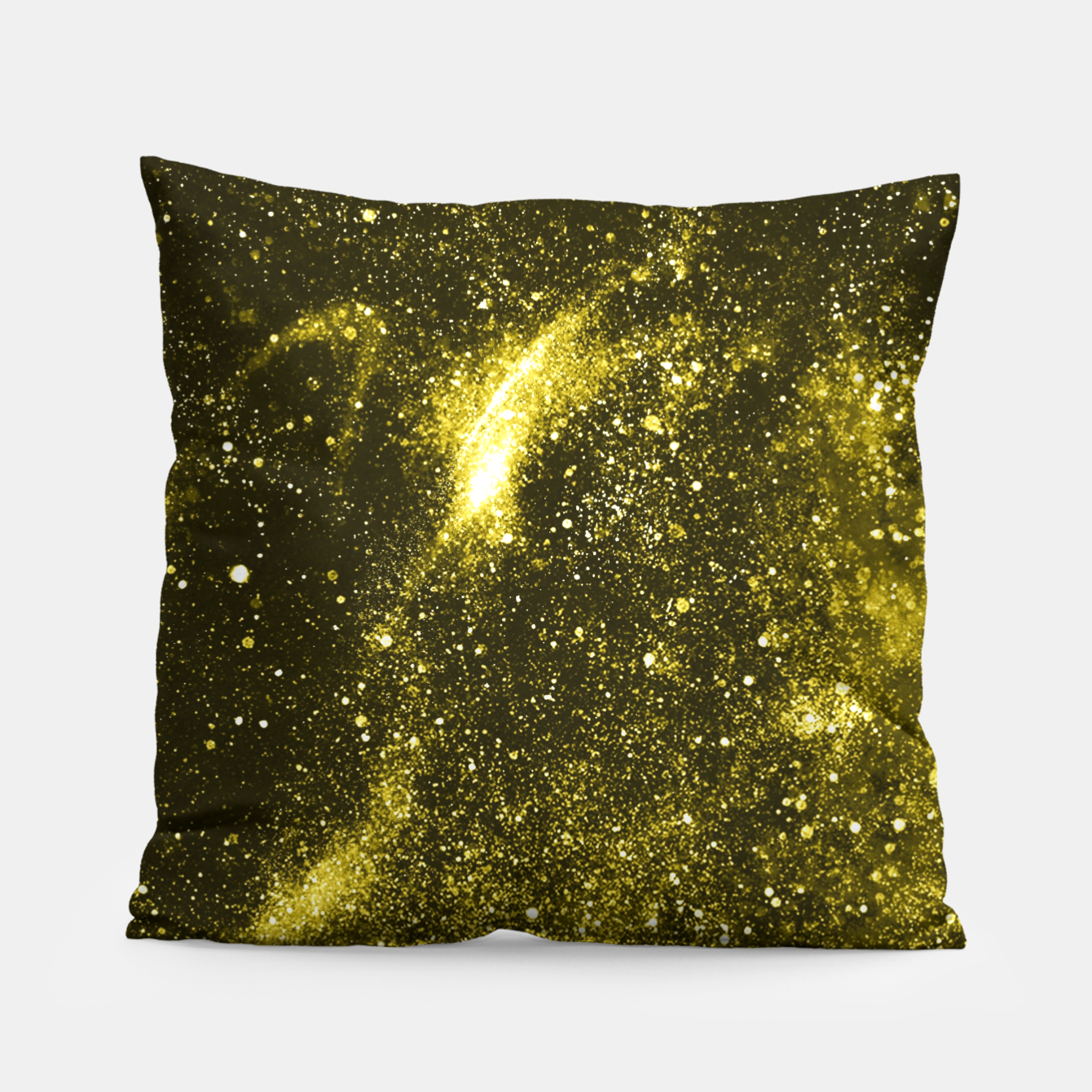Image of Illuminating yellow abstract galaxy Pillow - Live Heroes