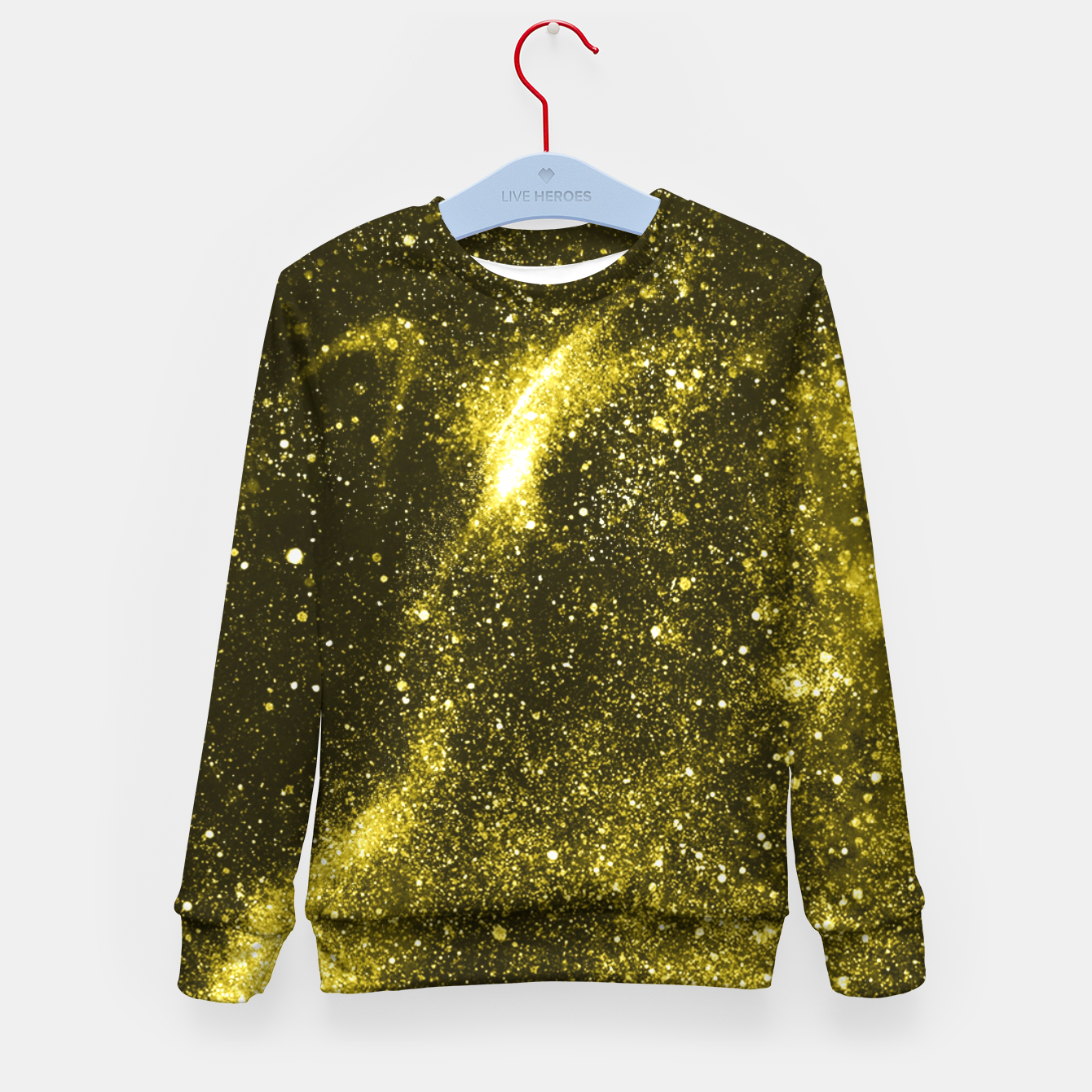 Image of Illuminating yellow abstract galaxy Kid's sweater - Live Heroes