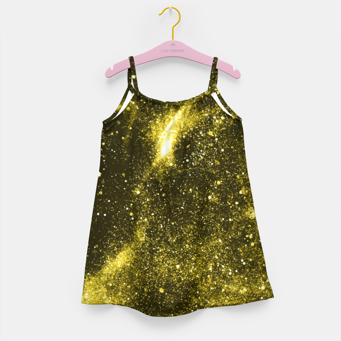 Image of Illuminating yellow abstract galaxy Girl's dress - Live Heroes
