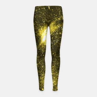 Miniaturka Illuminating yellow abstract galaxy Girl's leggings, Live Heroes