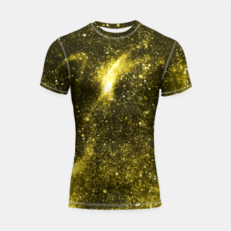 Thumbnail image of Illuminating yellow abstract galaxy Shortsleeve rashguard, Live Heroes