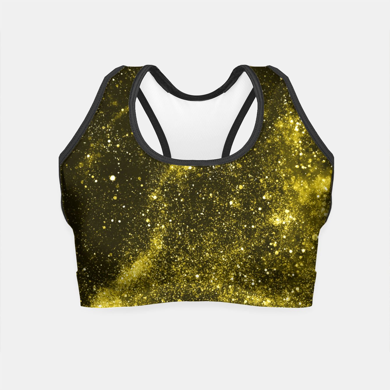Image of Illuminating yellow abstract galaxy Crop Top - Live Heroes