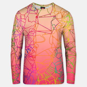 Thumbnail image of geometric line art abstract background in pink yellow green blue Unisex sweater, Live Heroes