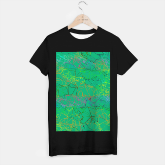 Thumbnail image of geometric line art abstract background in green yellow blue T-shirt regular, Live Heroes